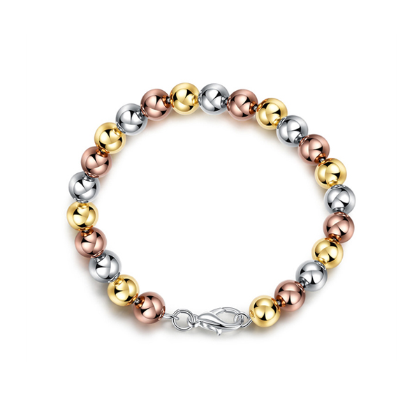 Simple And Classic Silver Charms Bead Bracelet Gold Plated
