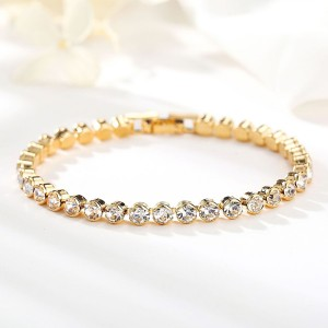 Flexible Crystal Decorated Gold Plated Bracelet