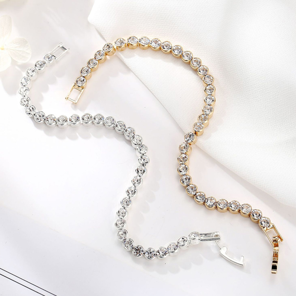 Flexible Crystal Decorated Silver Plated Bracelet
