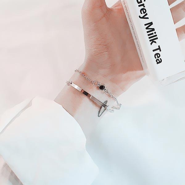 Double Elbow Extendable Chain Bracelets - Silver