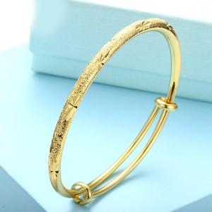 Knotted Decorative Gold Plated Bangle Bracelet