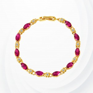 Rhinestone Decorated Gold Plated Bracelet - Red