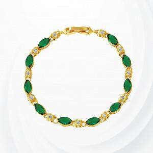 Rhinestone Decorated Gold Plated Bracelet - Green