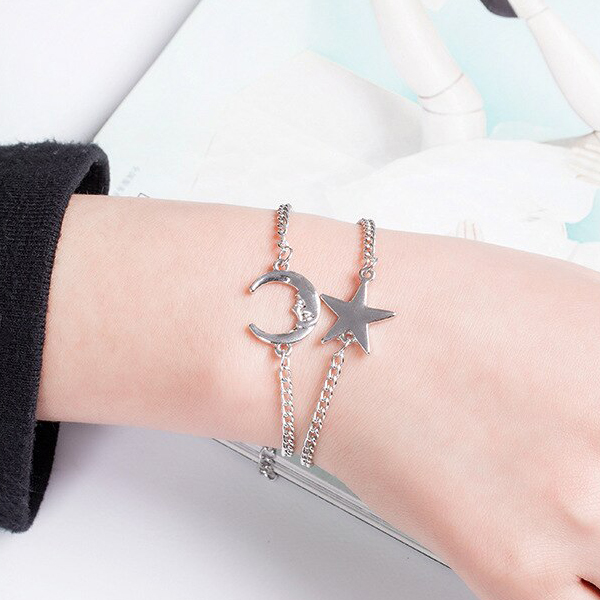 Silver Plated Moon Star Two Pieces Bracelets