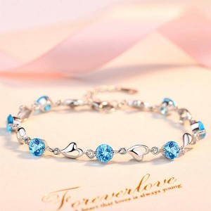 Sterling Silver Platinum Plated Party Wear Bracelets - Blue
