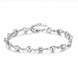 Sterling Silver Platinum Plated Party Wear Bracelets - White
