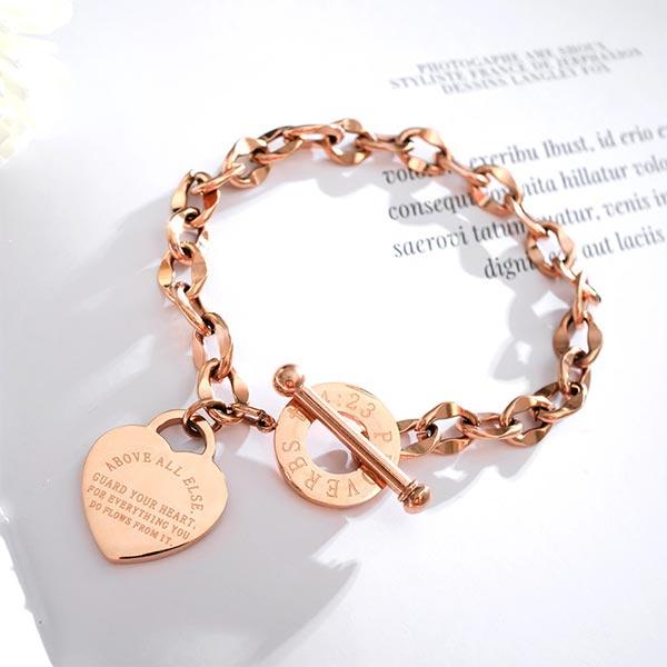 Heart Locket Chain Straps Elegant Gift Bracelet - Rose Gold