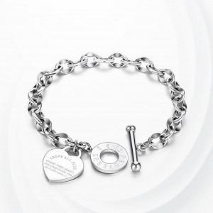 Heart Locket Chain Straps Elegant Gift Bracelet - Silver