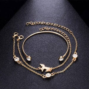 Multi Layered Chain Bracelets Set - Golden