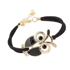 Cute Retro Owl Black Leather Bracelet For Women
