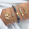 Five Pieces Multi Designs Boho Bracelets Set