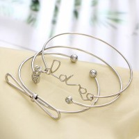 Three Pieces Engraved Bangle Bracelets Set - Silver