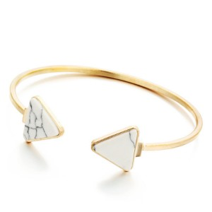 Women Vintage Fashion Open Bracelet White Stone