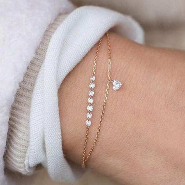 Crystal Heart Gold Plated Chain Bracelet