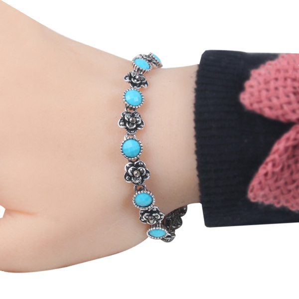 High Quality New Fashion Alloy Plating Bracelet For Ladies Blue