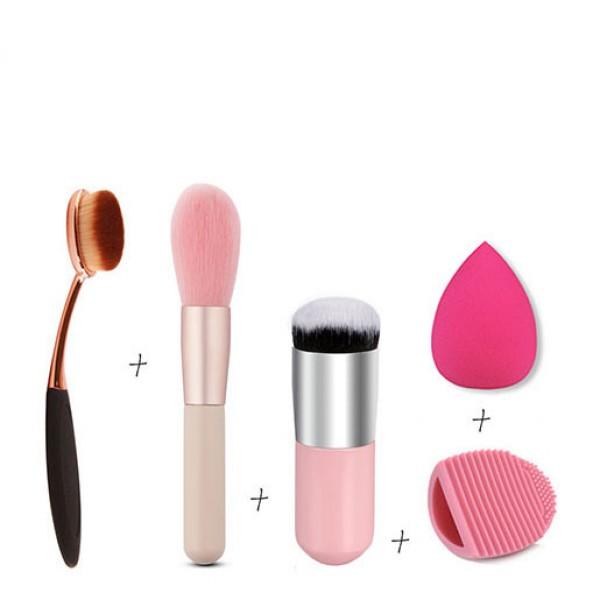 Makeup Tools 3 Brushes Set Egg Wash Powder Puff Pink