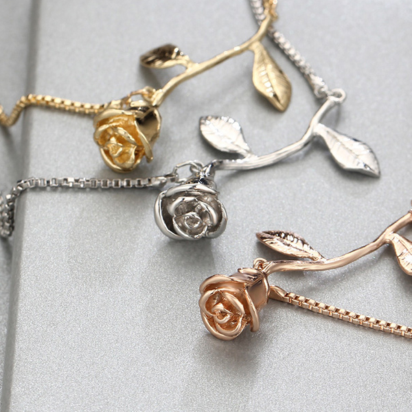 Rose And Leaf Patched Rope Bracelet - Silver Plated