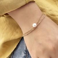 Gold Plated Pearl Casual Wear Two Sets Women Bracelet