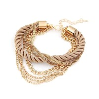 Multiple Layer Chain Bracelet With Woven Rope For Women