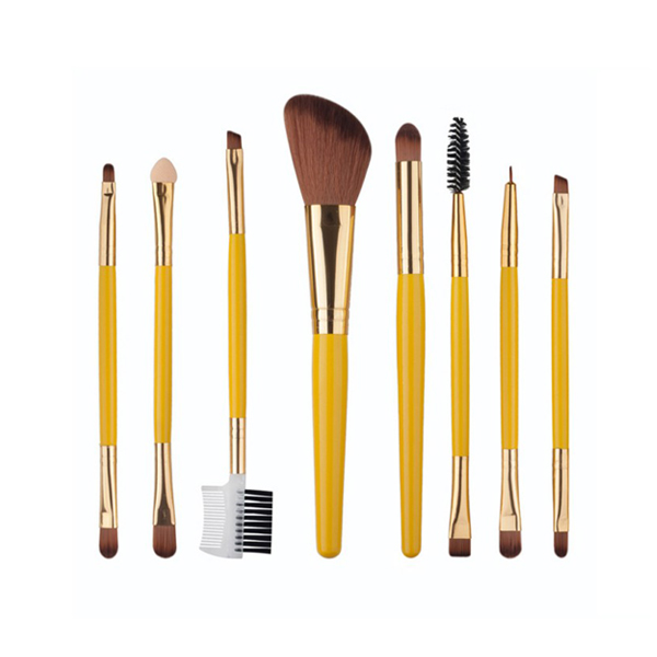 Cosmetic Foundation Powder Brow Eyeshadow Brushes Kit Yellow