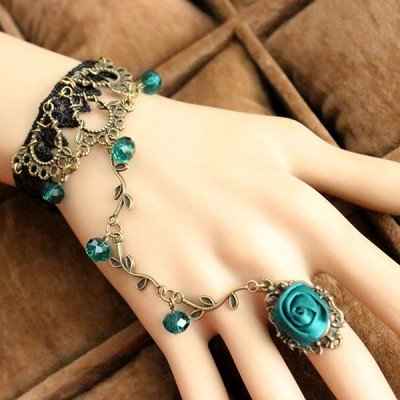 Women Original Handmade Vintage Lace Flower Ring Bracelet