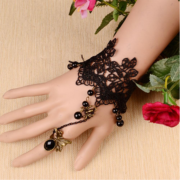 New Rhinestone Hanging Jewelry Black Lace Women Bracelets
