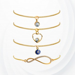 Four Pieces Gold Plated Chain Bracelets