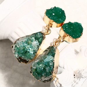 Resin Stone Gold Plated Crystal Earrings - Green