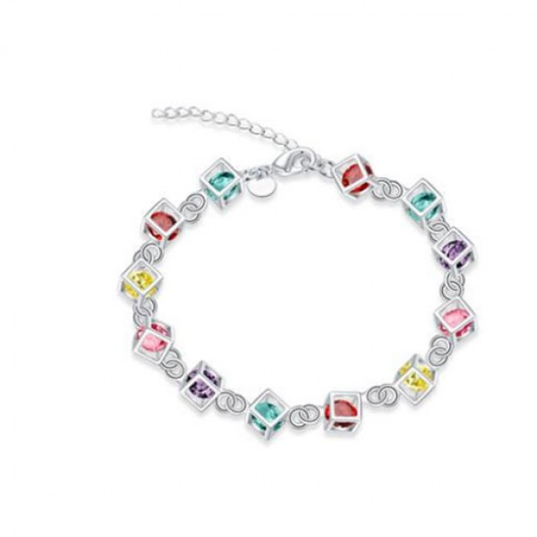 Multicolor Rhinestone Silver Rolo Bracelet For Women