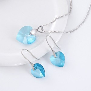 Heart Shape Lady Sparkling Crystal Earrings and Necklace