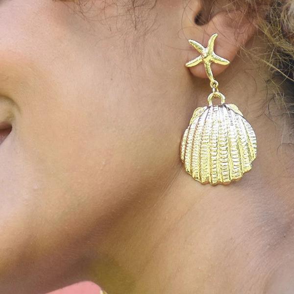 Star Fish Shell Party Wear Elegant Earrings Pair