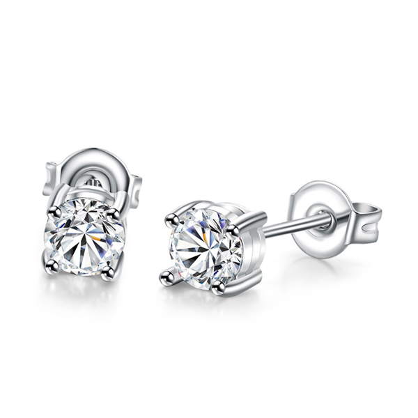 New Platinum Plated Round Stud Earring Women
