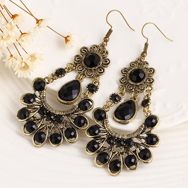 Bohemian Rhinestone Patched Ear Rings - Black