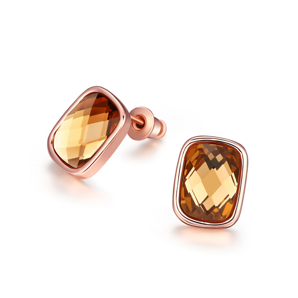 Rose Gold Stud Earrings Groomed With Golden Zircon 2017