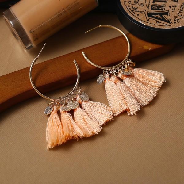 Bohemian Tassel Casual Wear Earrings Set - Apricot