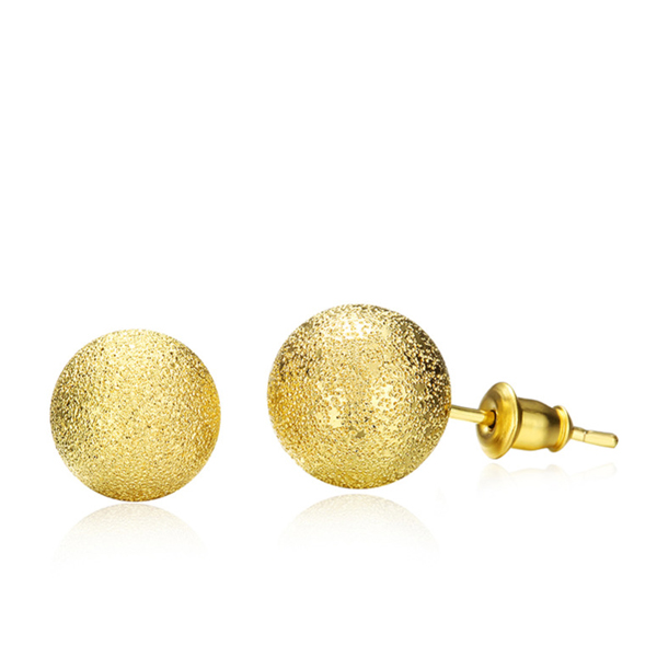 New Spherical Stud Gold Plated Earrings For Women 6MM