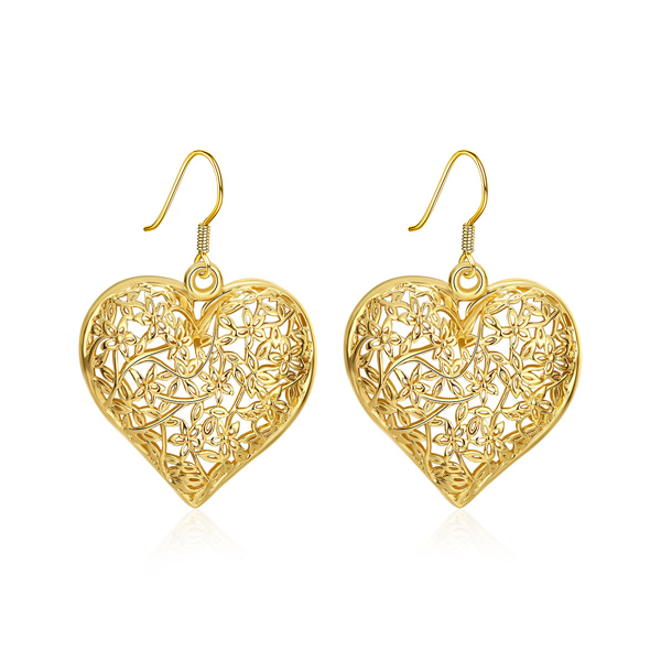 Heart Shaped Real Gold Plated Earrings For Women 2017
