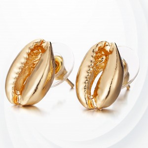 Sea Shell Shaped Gold Plated Ear Tops