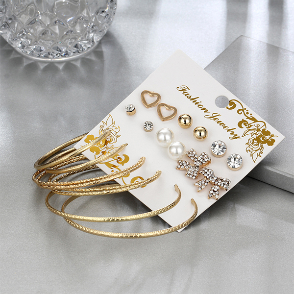 Multi-shaped Crystal Gold Plated Party Earrings Set