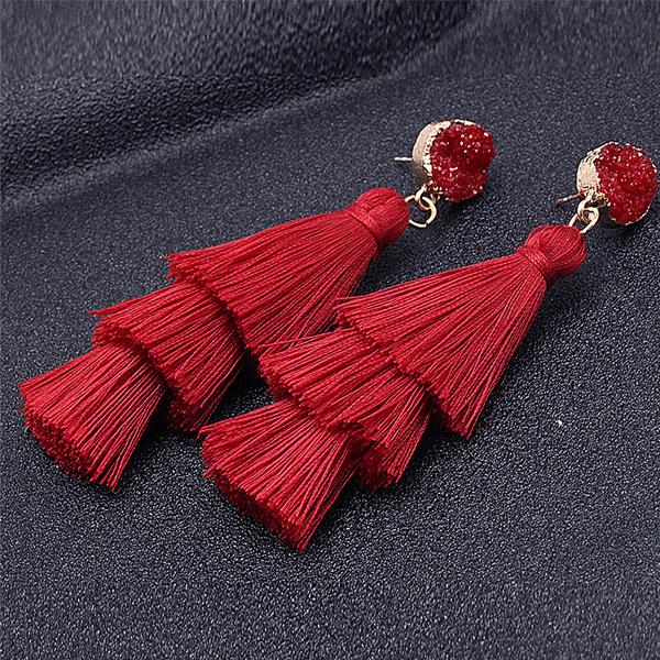 Tassel Flared Cute Party Wear Earrings - Red