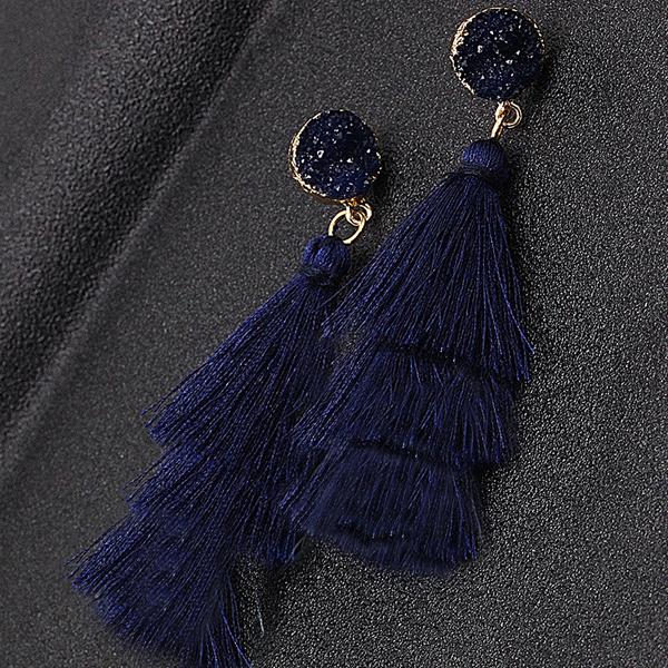 Tassel Flared Cute Party Wear Earrings - Dark Blue