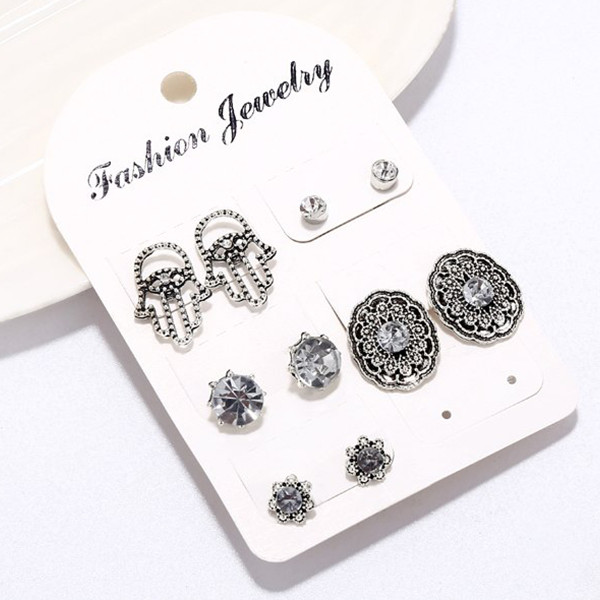 Crystal Decorative Engraved Five Pieces Ear Tops Set