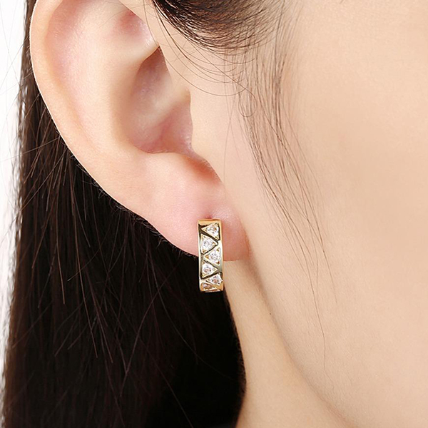 Women Fashion Diamond Studs Gold Plated Jewelry Wholesale Earrings