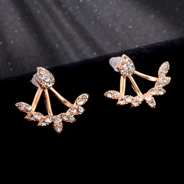 Water Drop Crystal Elegant Ear Tops Pair - Golden