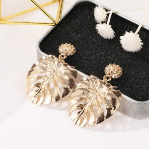Hollow Leaf Pattern Gold Plated Earrings