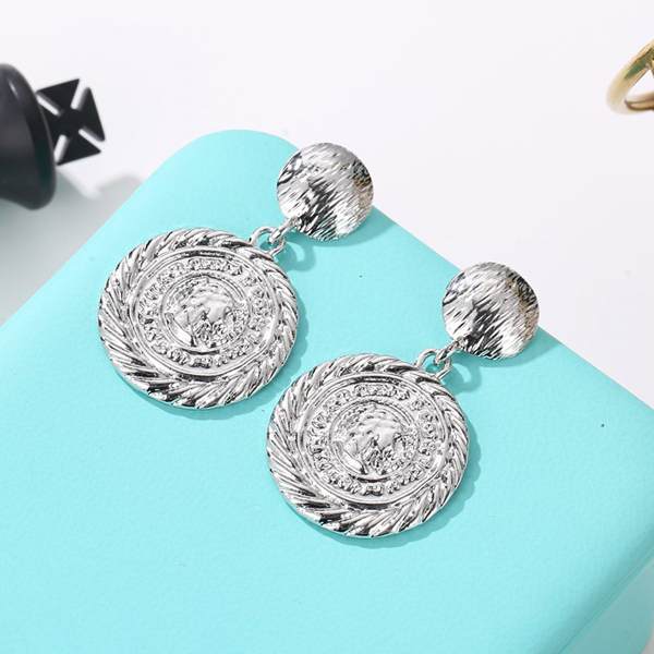 Coin Engraved Silver Plated Party Earrings