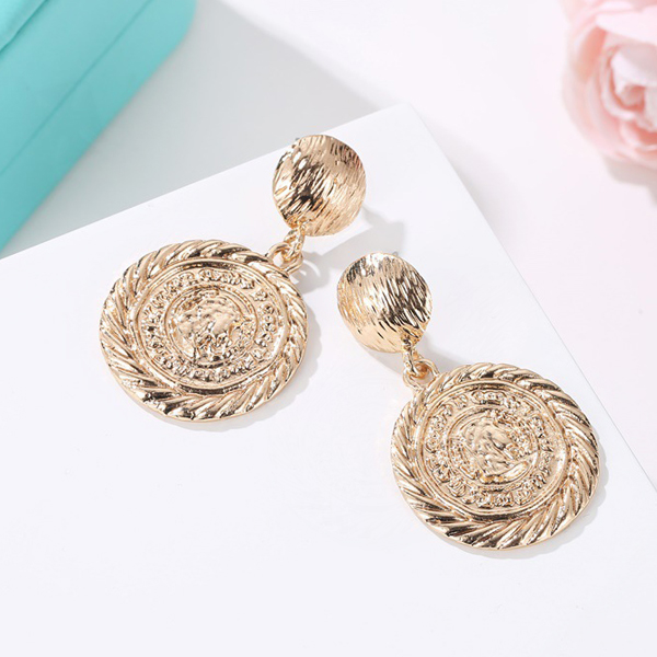 Coin Engraved Gold Plated Party Earrings