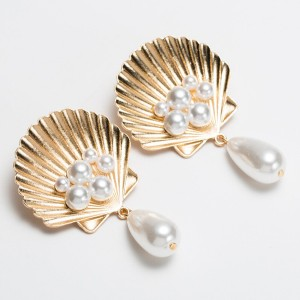 Shell Party Wear Exclusive Designers Ear Tops - Golden