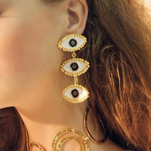 Triple Eye Gold Plated Casual Ear Tops