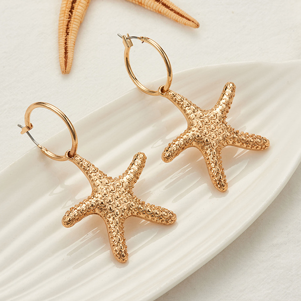 Gold Plated Star Fish Shaped Ear Tops - Golden